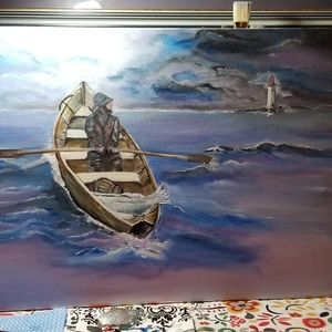 Sailer at sea painting